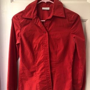 New York and Company Red Stripe Button-Down